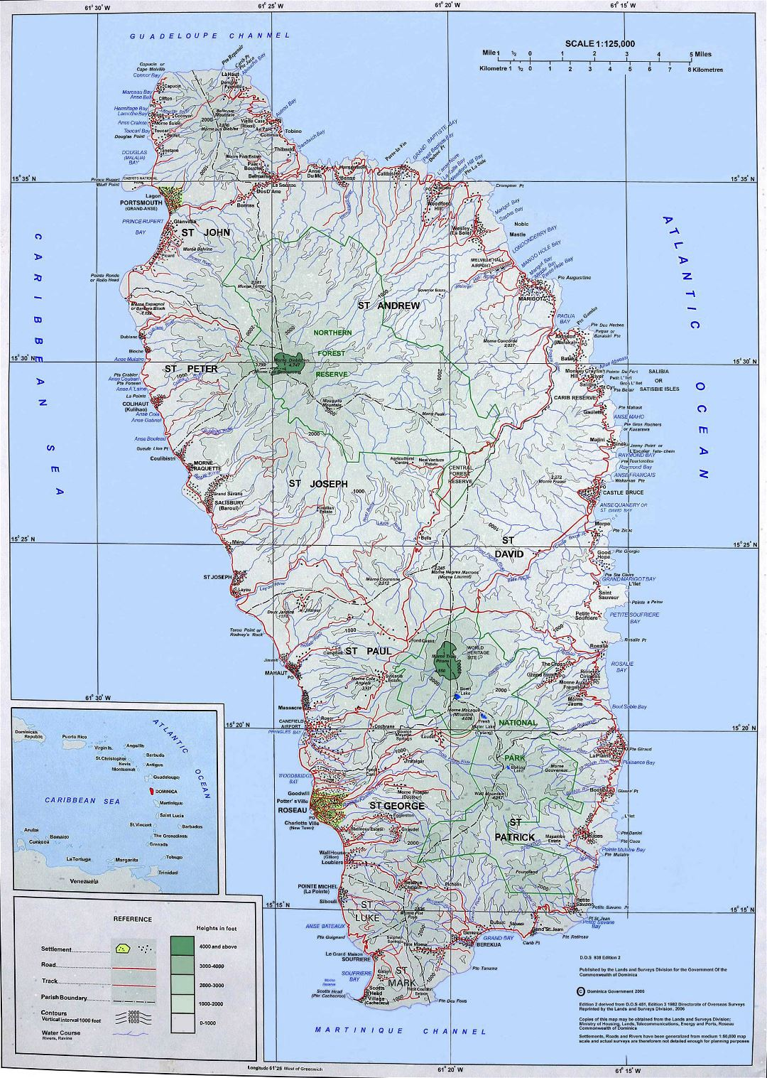 Large topographical map of Dominica Island