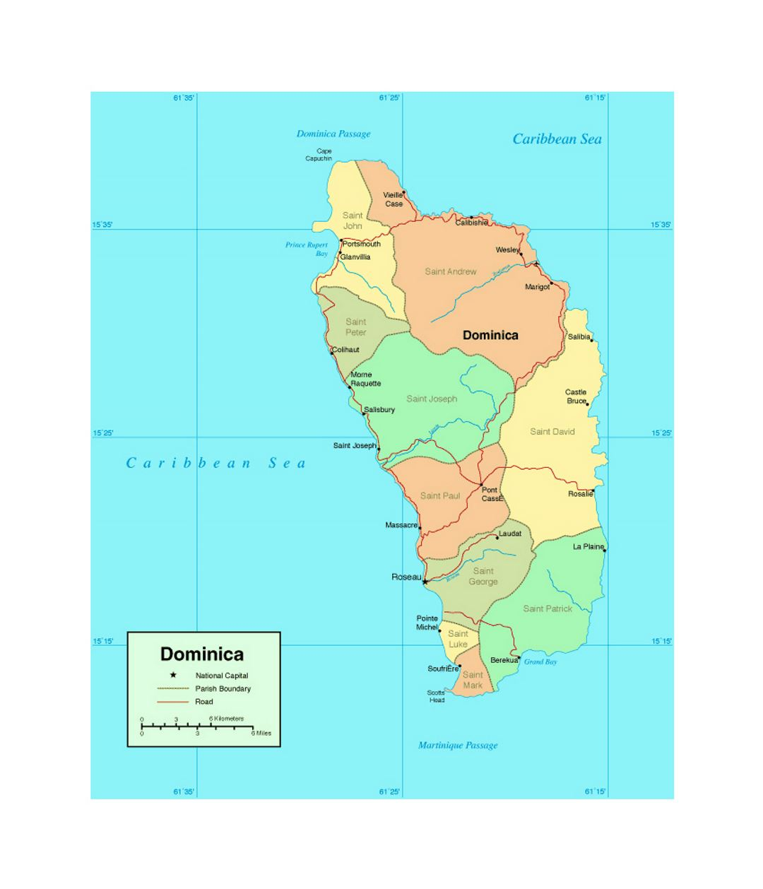 Political and administrative map of Dominica with roads and major cities