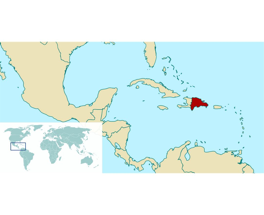 Dominican republic location on the north america map on
