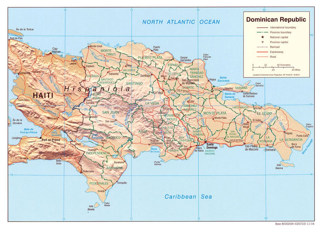 Detailed political and administrative map of Dominican Republic with relief, roads, railroads and major cities - 2004