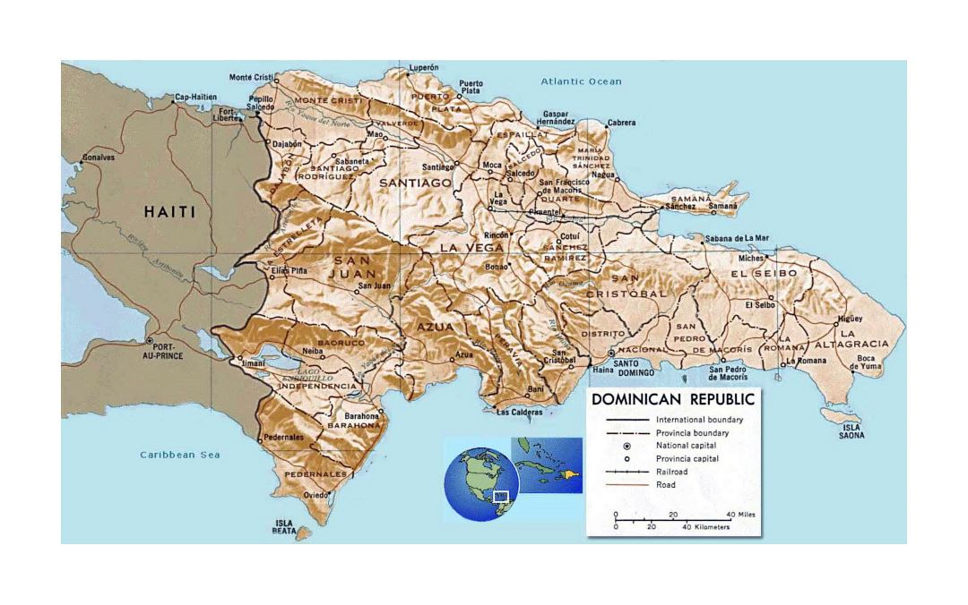Detailed political and administrative map of Dominican Republic with relief, roads, railroads and major cities