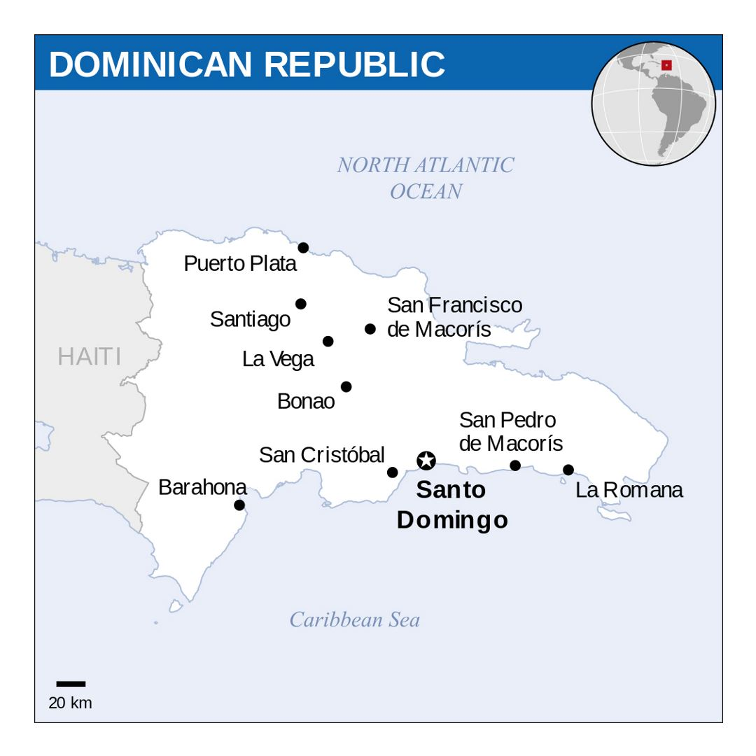 Detailed Political Map Of Dominican Republic With Major Cities - Dominican republic major cities map
