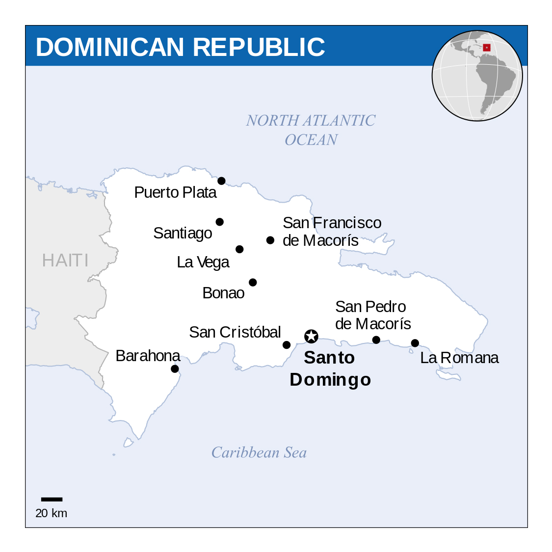 Detailed political map of Dominican Republic with major cities