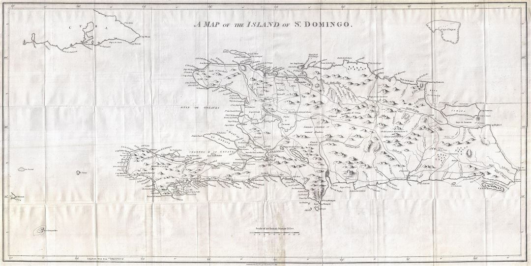 Large detailed old map of Hispaniola or Santo Domingo, West Indies, Haiti, Dominican Republic - 1800