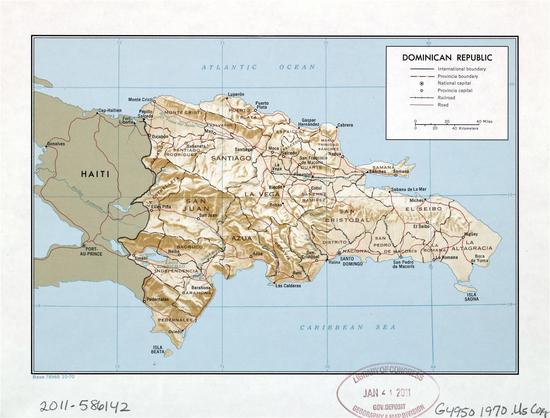 Large detailed political and administrative map of Dominican Republic with relief, roads, railroads and major cities - 1970
