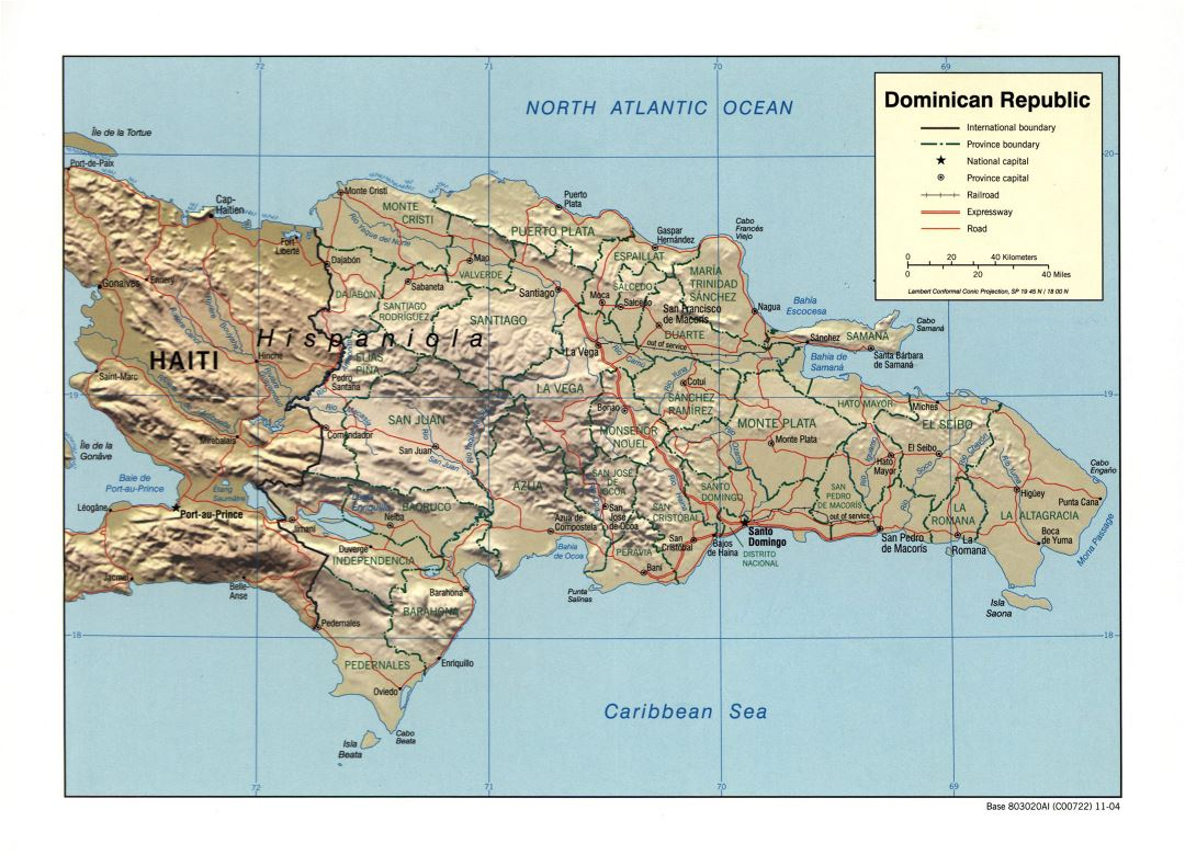 Large detailed political and administrative map of Dominican Republic with relief, roads, railroads and major cities - 2004