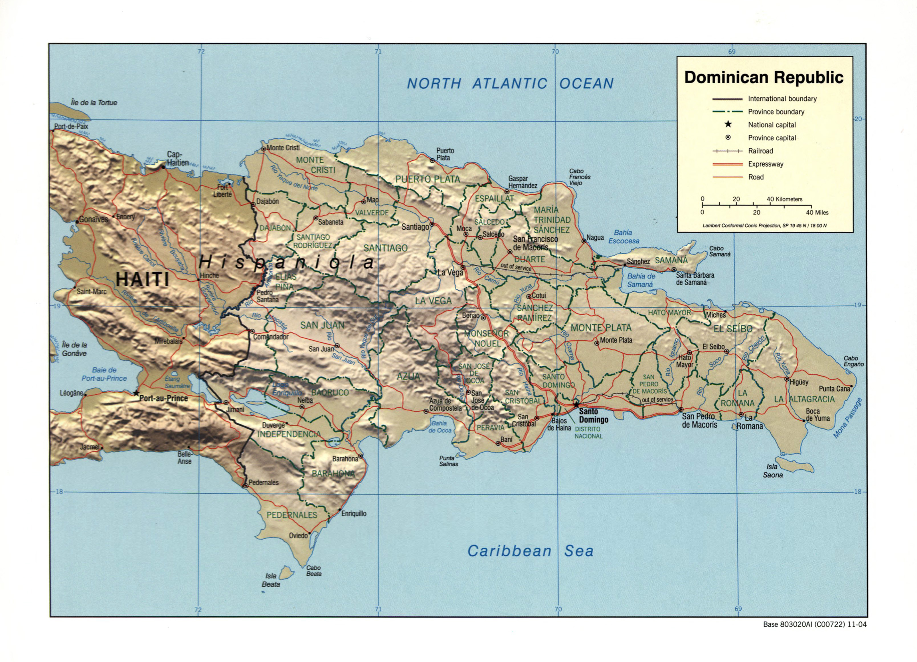Large detailed political and administrative map of Dominican