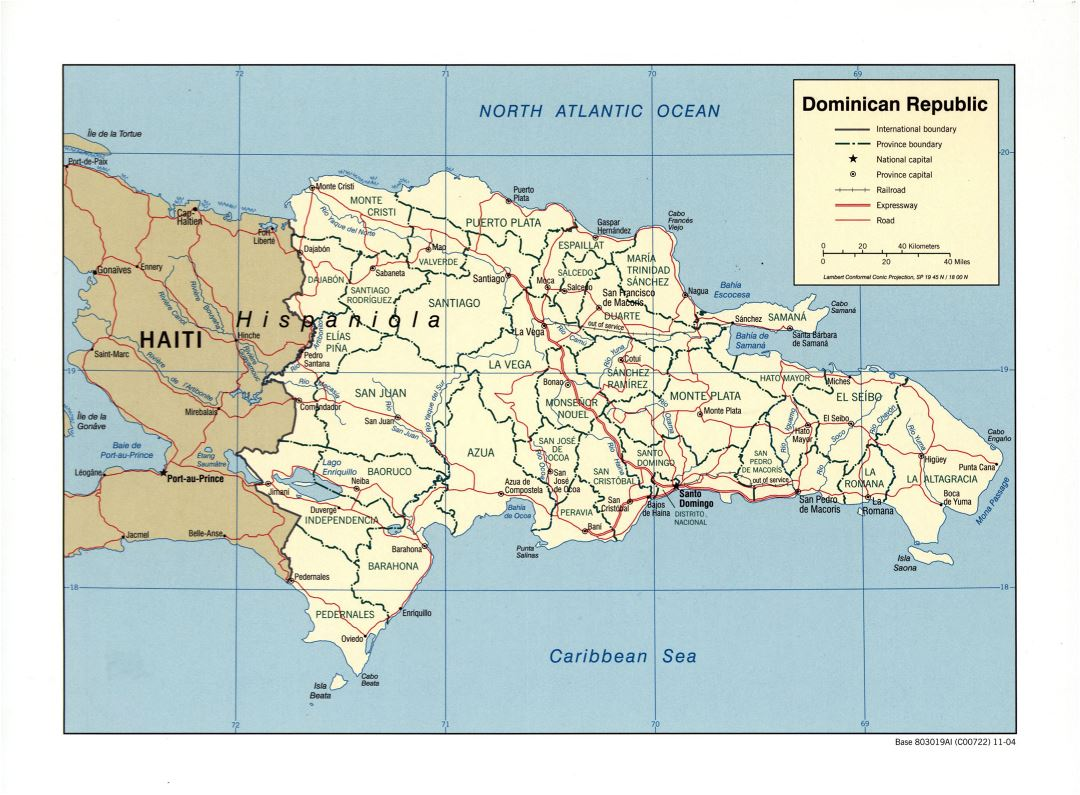 Large detailed political and administrative map of Dominican Republic with roads, railroads and major cities - 2004