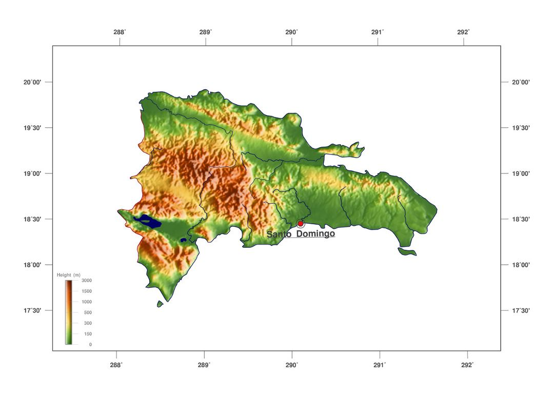 Large elevation map of Dominican Republic