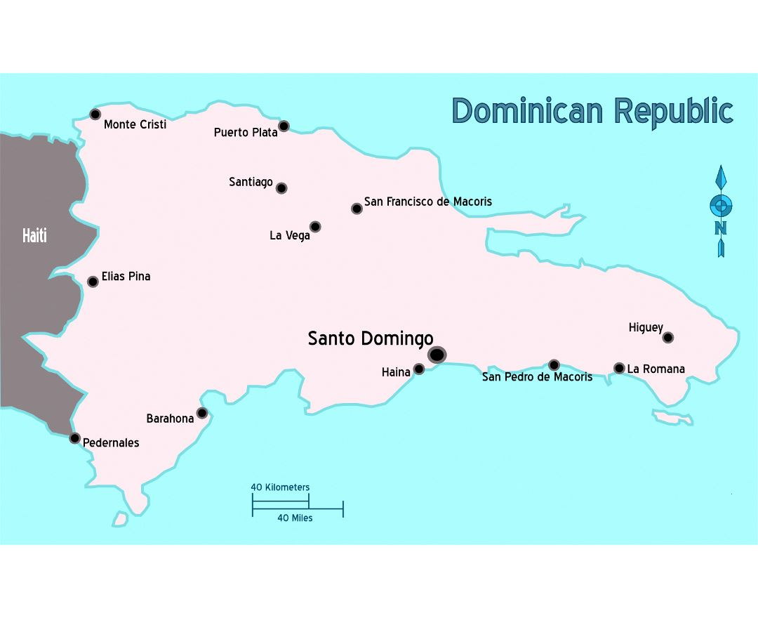 Ideas Large Map Of The Dominican Republic On Emergingartspdxcom - Dominican republic major cities map