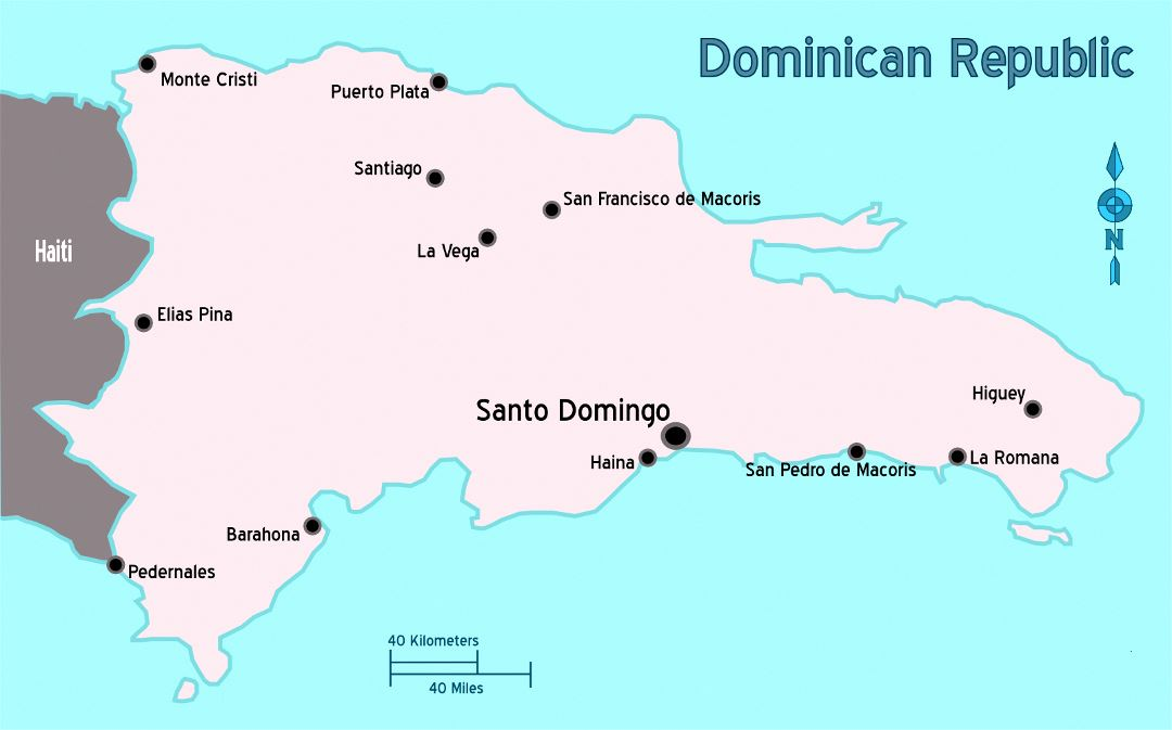 Large map of Dominican Republic with major cities