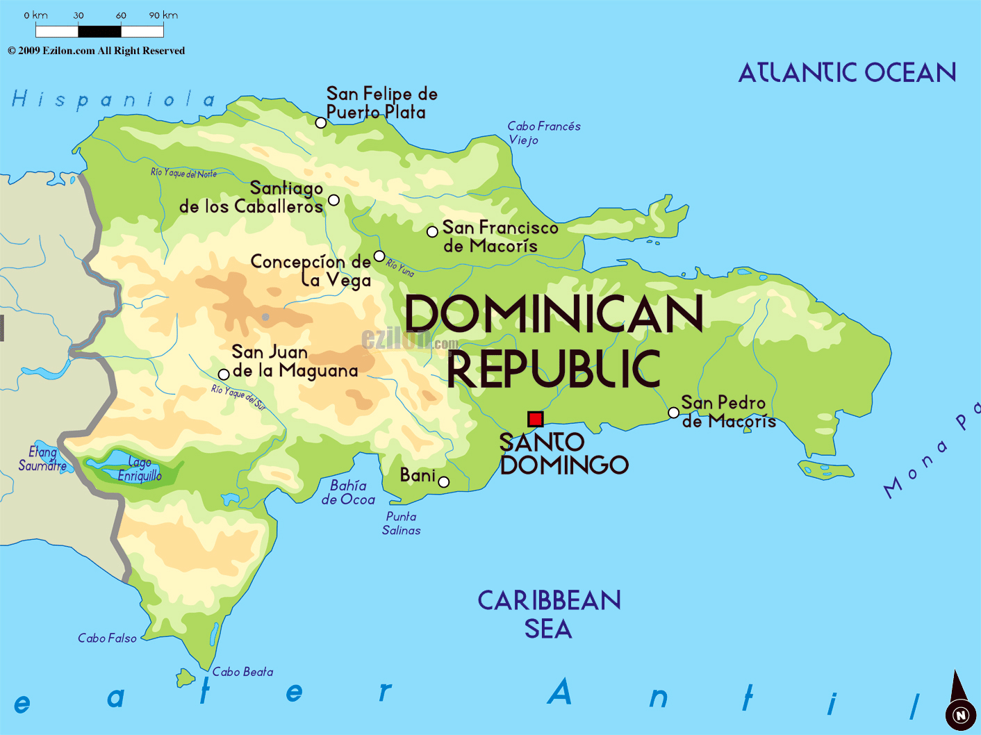 Large physical map of Dominican Republic with major cities ...