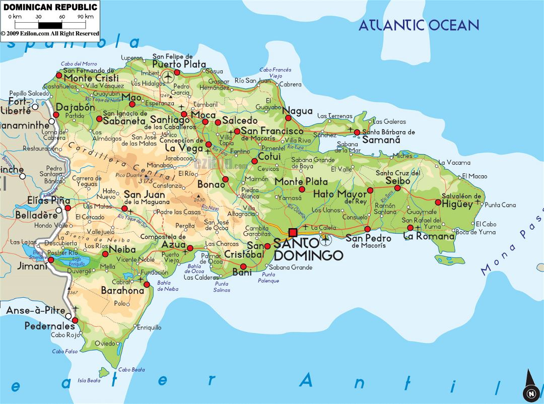 Large physical map of Dominican Republic with roads, cities and airports