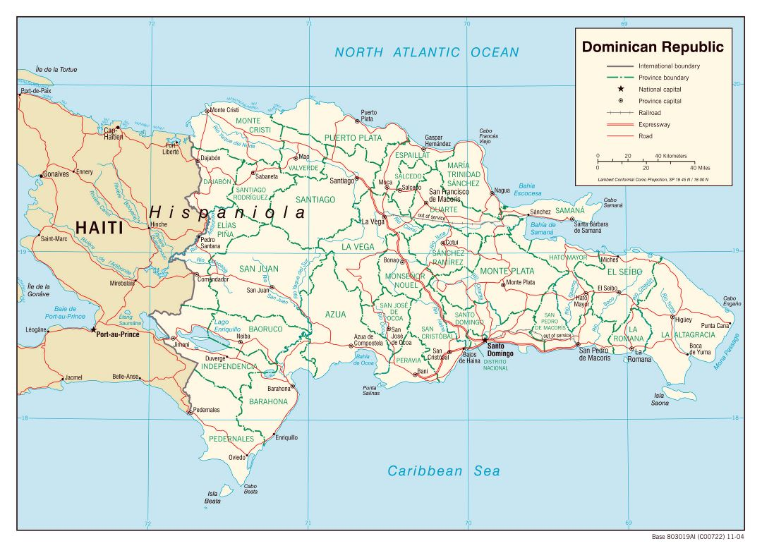 Large political and administrative map of Dominican Republic with roads, railroads and major cities - 2004