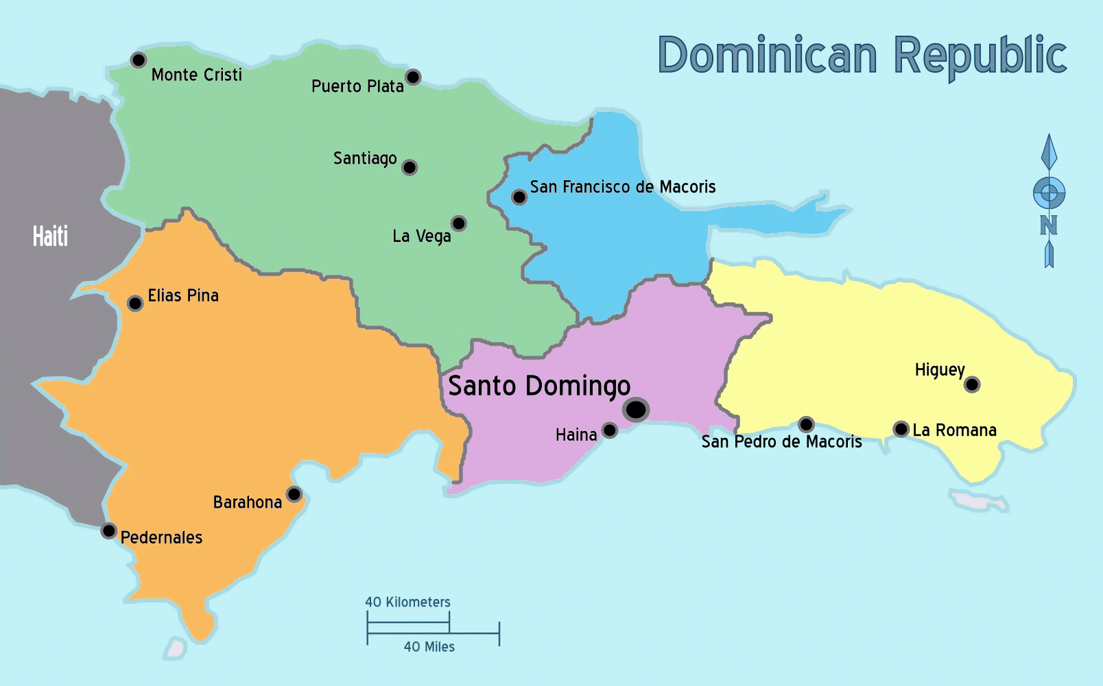 Large regions map of Dominican Republic | Dominican Republic ...