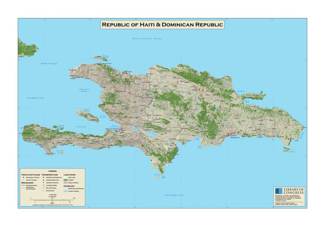 Large scale detailed map of republic of haiti and dominican large scale detailed map of republic of haiti and dominican republic with relief roads gumiabroncs Gallery