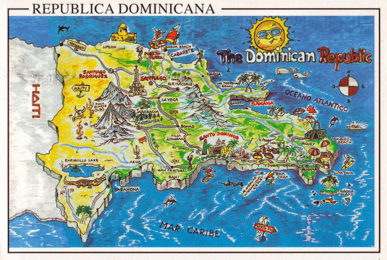 Large Travel Illustrated Map Of Dominican Republic Dominican - A map of dominican republic