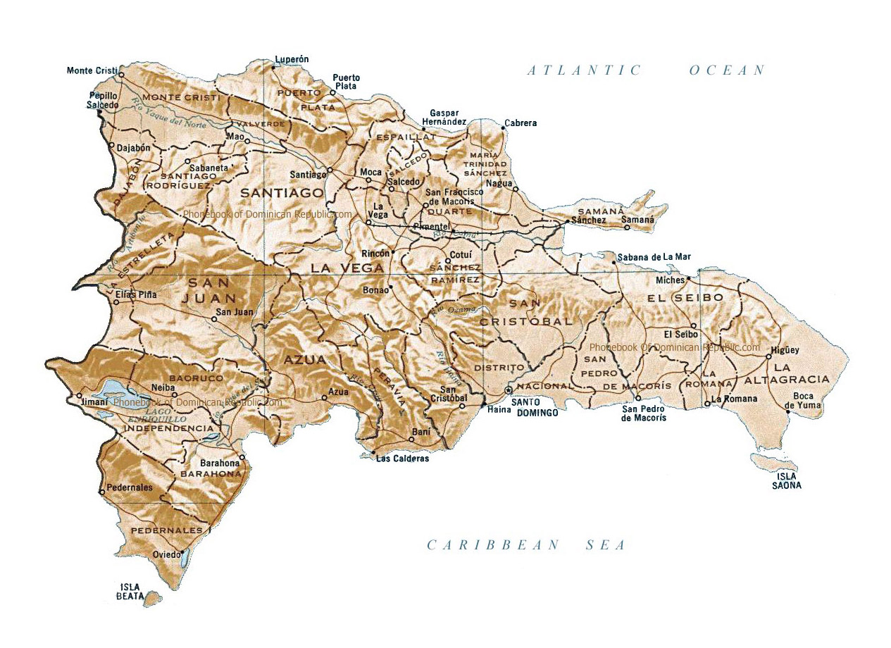 Political and administrative map of Dominican Republic with relief