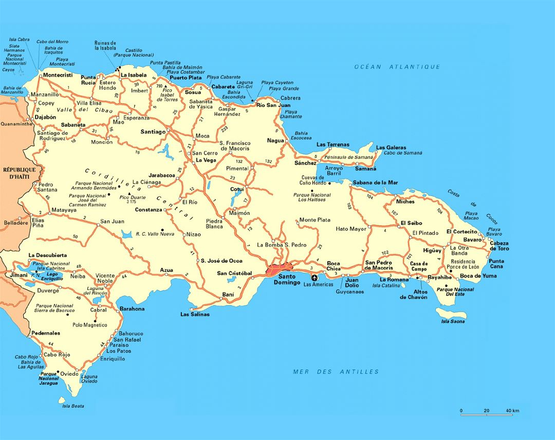 Road map of Dominican Republic with cities and airports