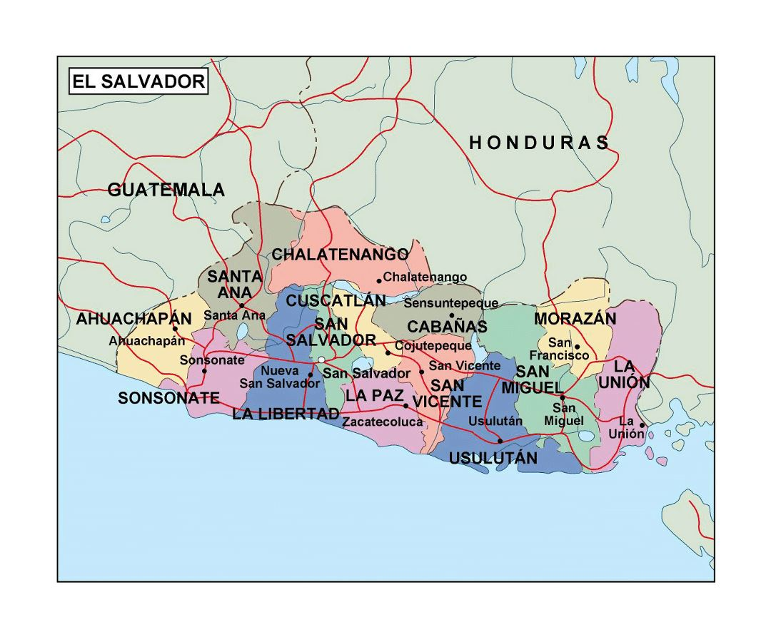 Detailed administrative map of El Salvador