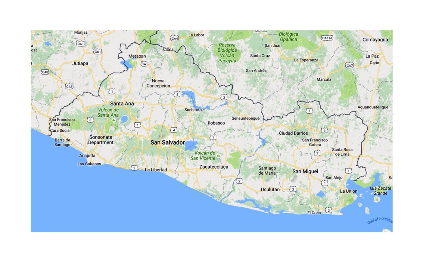 Detailed Map Of El Salvador With Roads El Salvador North - North america map el salvador