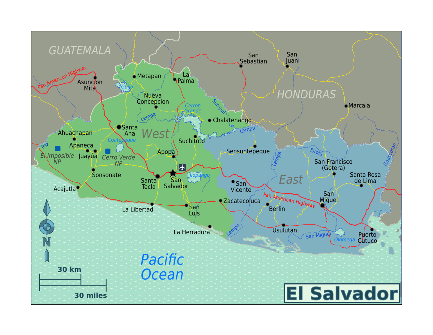 Detailed regions map of El Salvador | El Salvador | North ... on uruguay map, nicaragua map, brazil map, buenos aires map, passo fundo map, taiohae map, santiago map, honduras map, lima map, peruana map, mexico map, caracas map, central america map, south america map, sert map, costa rica map, the landing map, kusti map, world map, bage map,