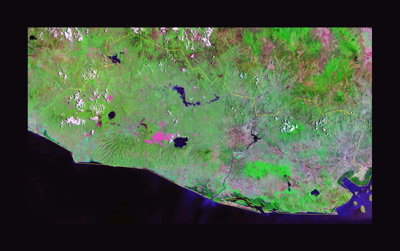 Detailed satellite map of El Salvador El Salvador North America
