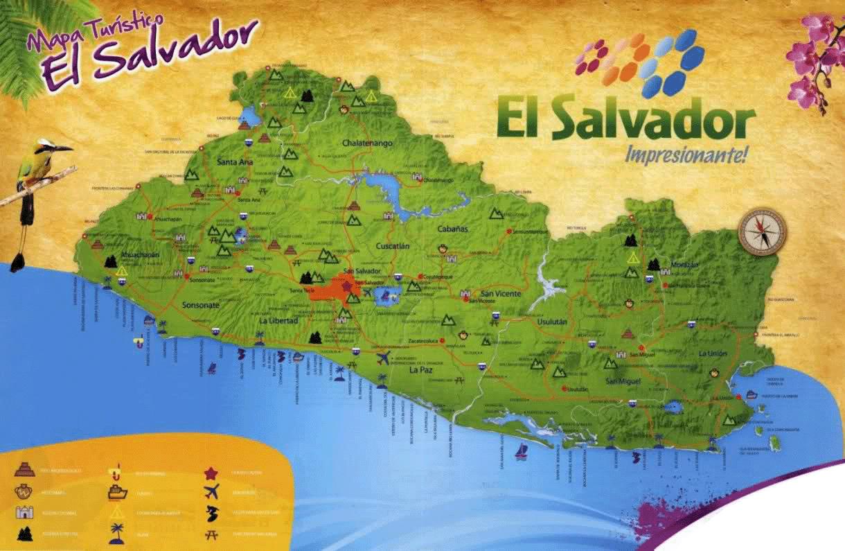 Detailed tourist map of el salvador el salvador north america detailed tourist map of el salvador gumiabroncs Gallery