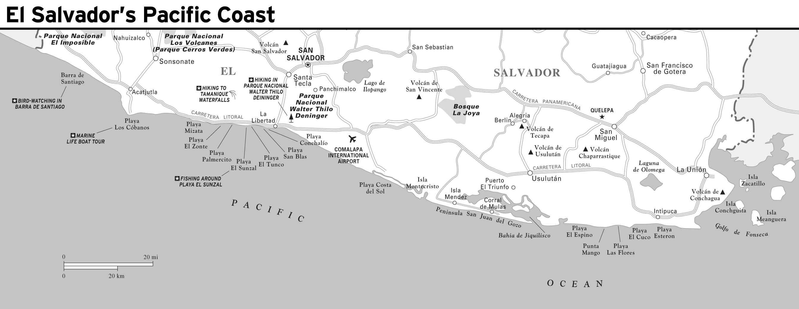 Large detailed map of El Salvadors Pacific Coast with roads and