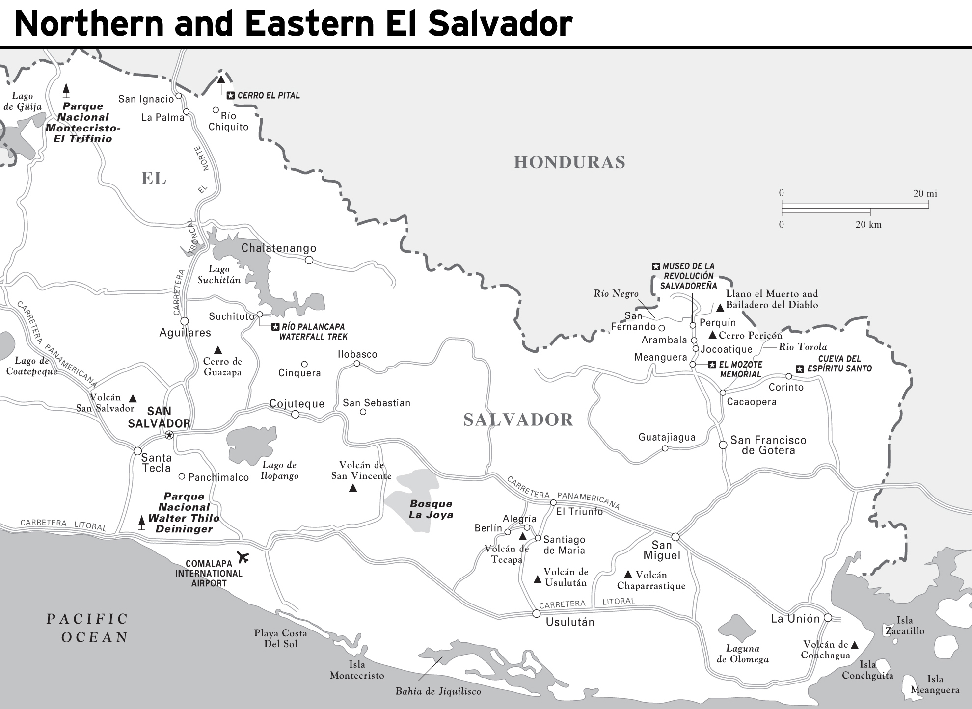 Large detailed map of Northern and Eastern El Salvador with roads
