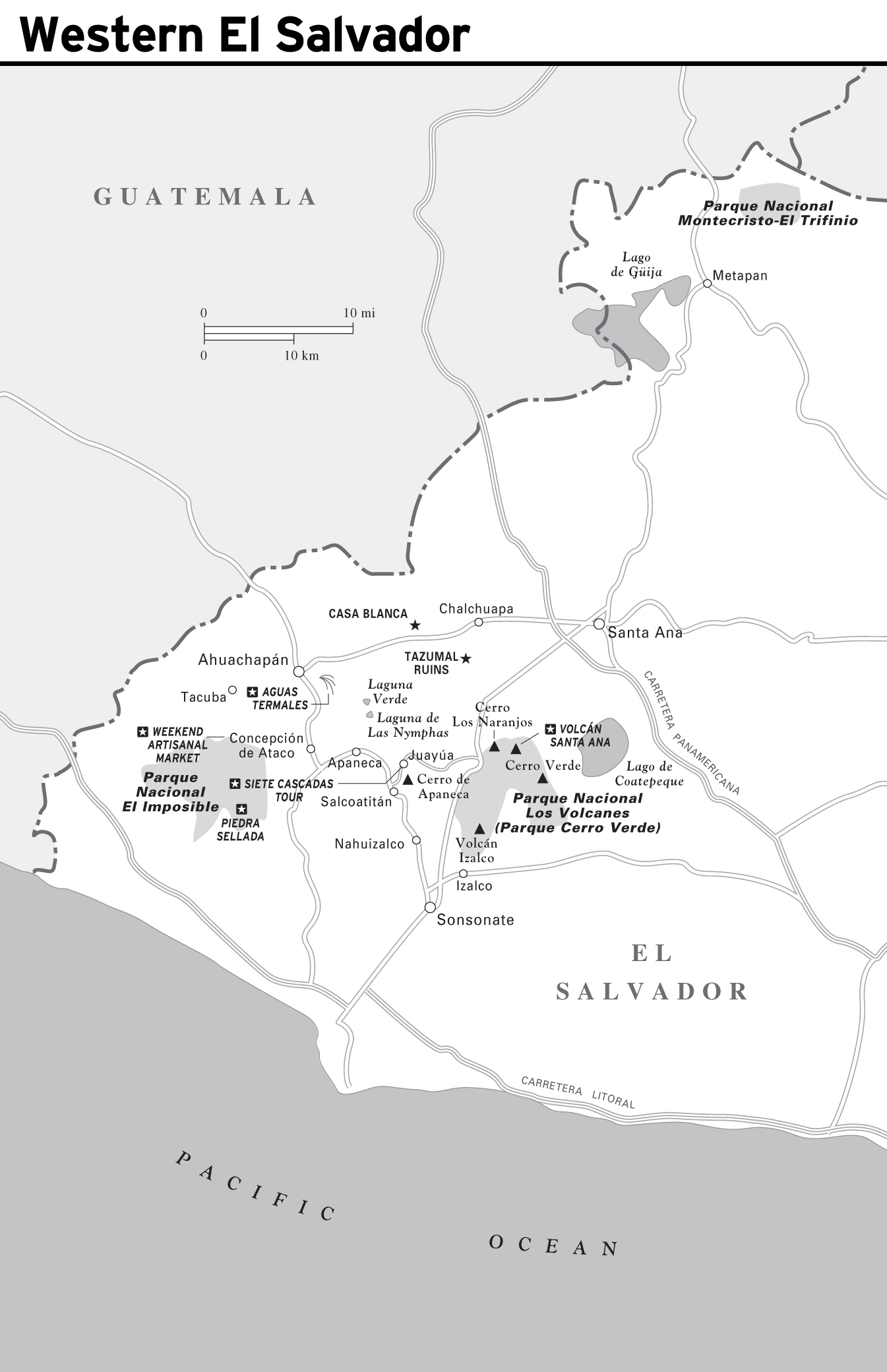 Large detailed map of Western El Salvador with roads and cities | El on