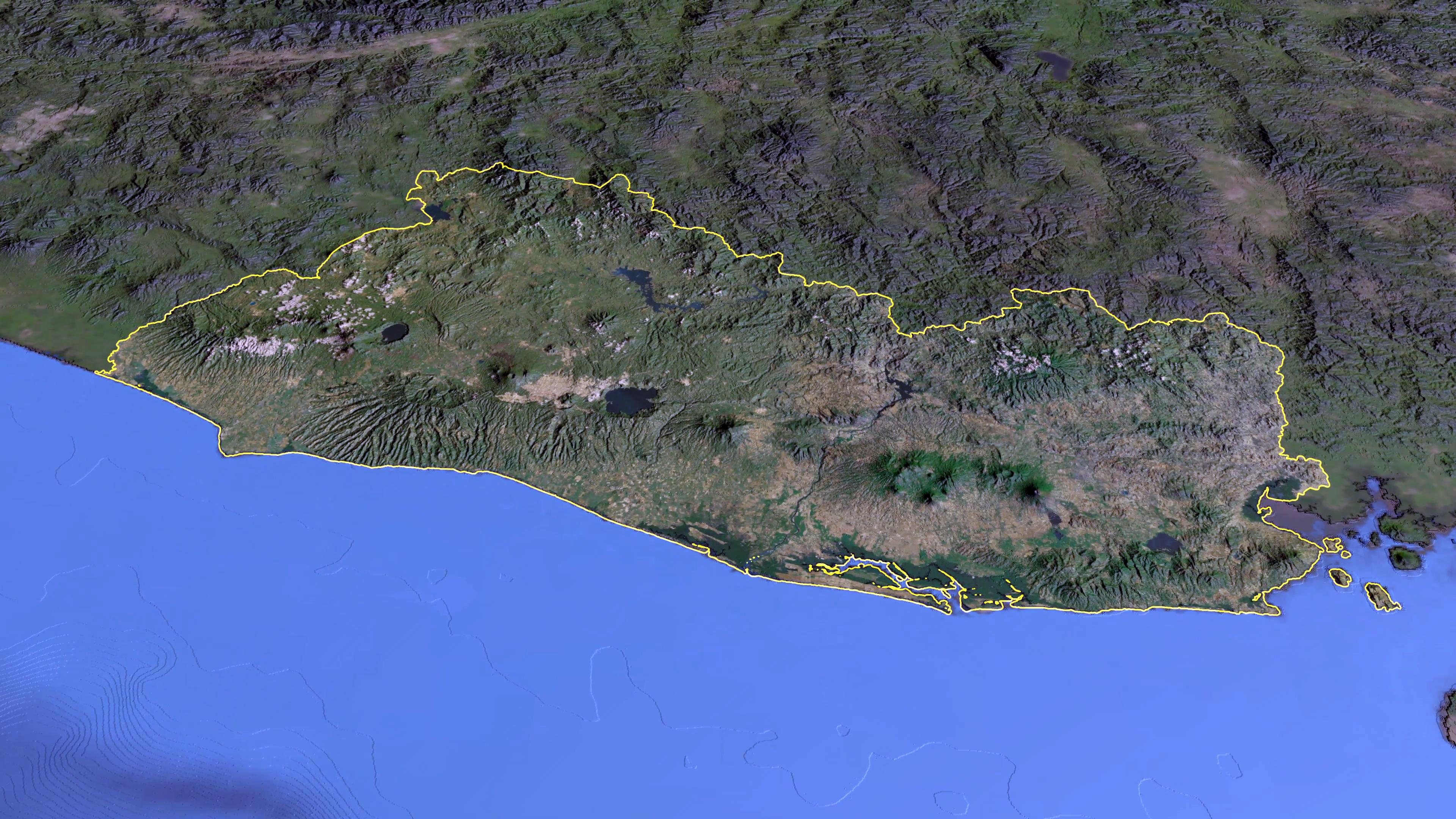 Large detailed panoramic satellite map of El Salvador El Salvador