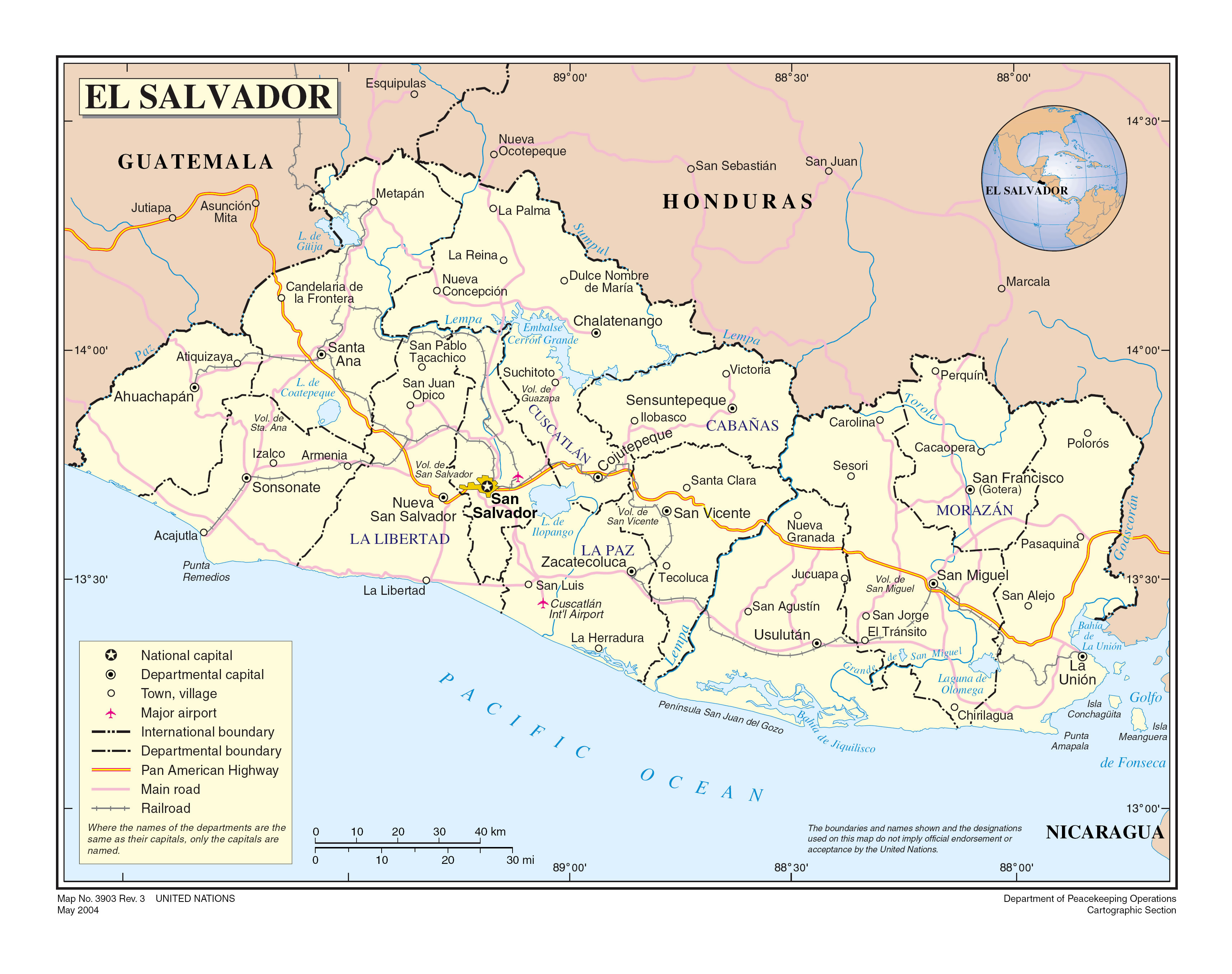 Large detailed political and administrative map of El Salvador with