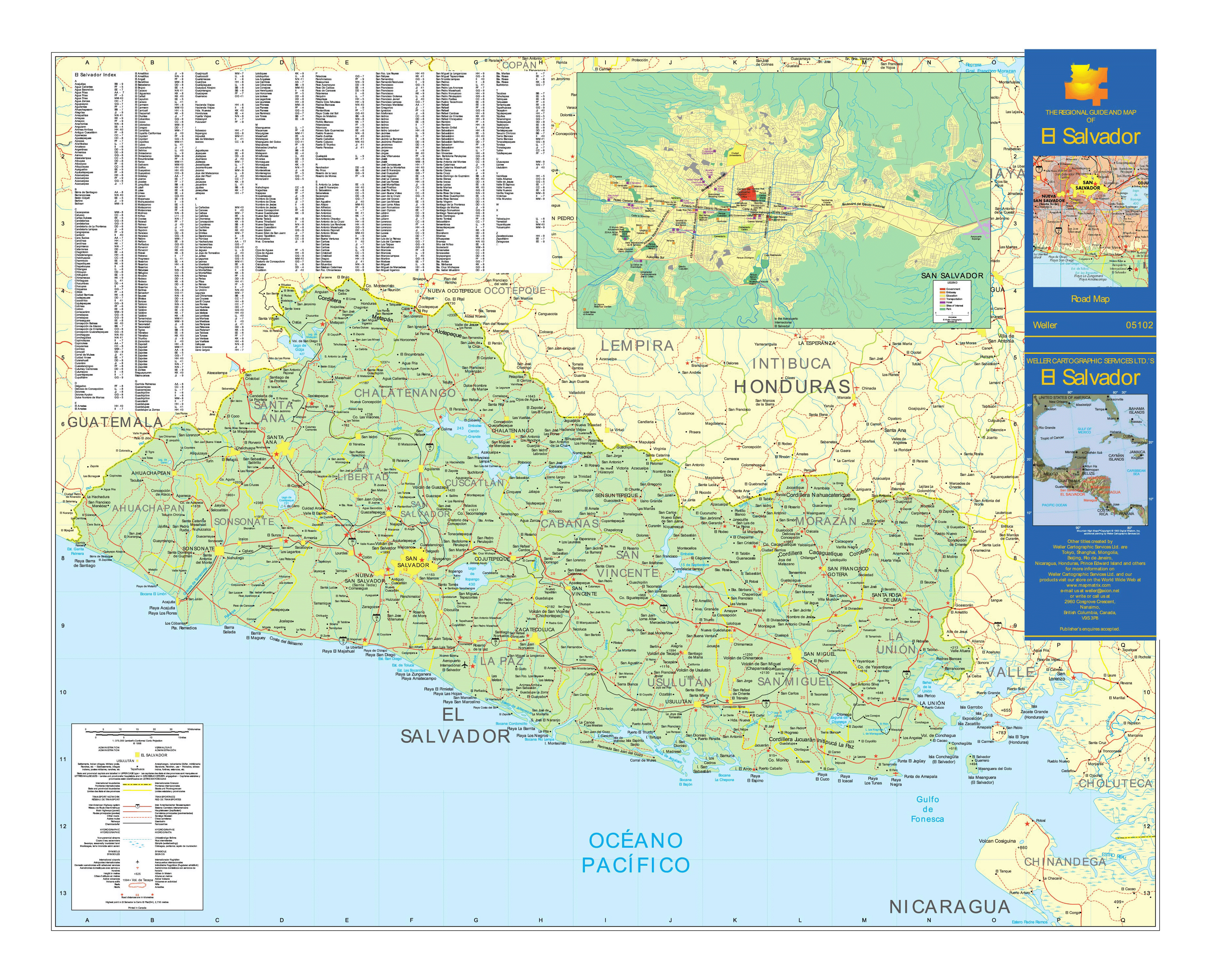 Large Detailed Road Map Of El Salvador With Cities Airports And - North america map el salvador