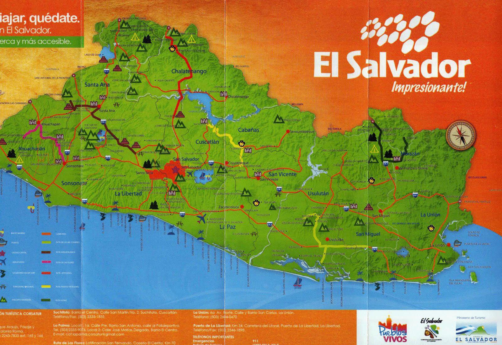 Large detailed tourist map of el salvador el salvador north large detailed tourist map of el salvador gumiabroncs Gallery