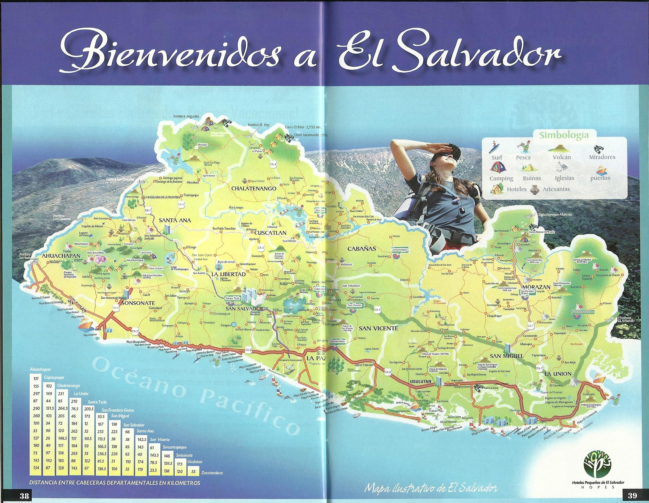 Large detailed travel map of El Salvador El Salvador North
