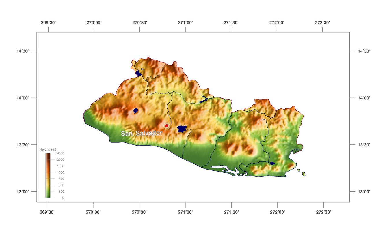 Large elevation map of El Salvador | El Salvador | North America ...