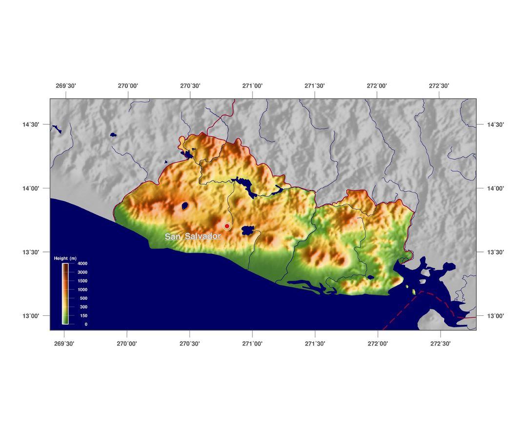 Maps of El Salvador Detailed map of El Salvador in English