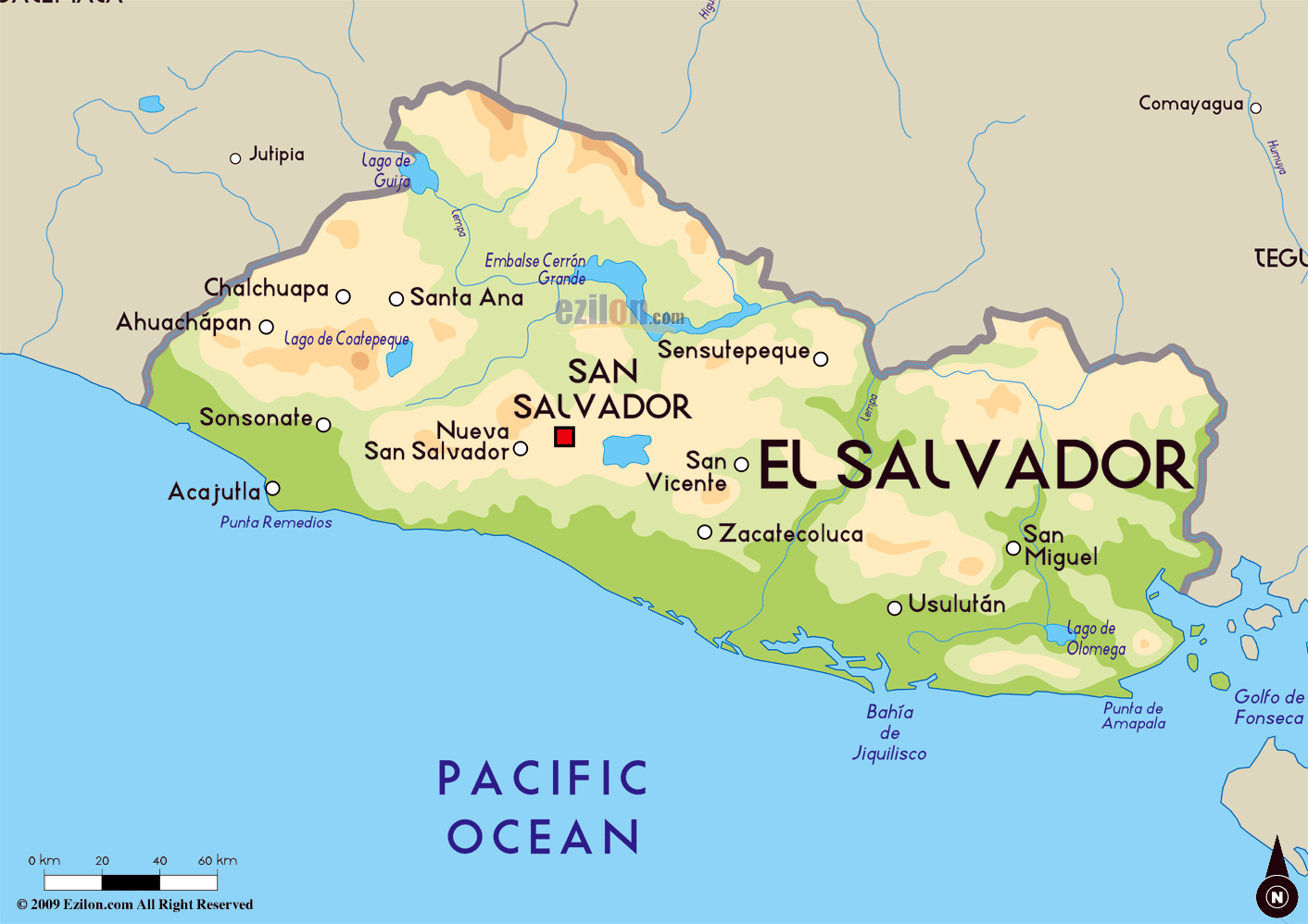 Large physical map of El Salvador with major cities El Salvador