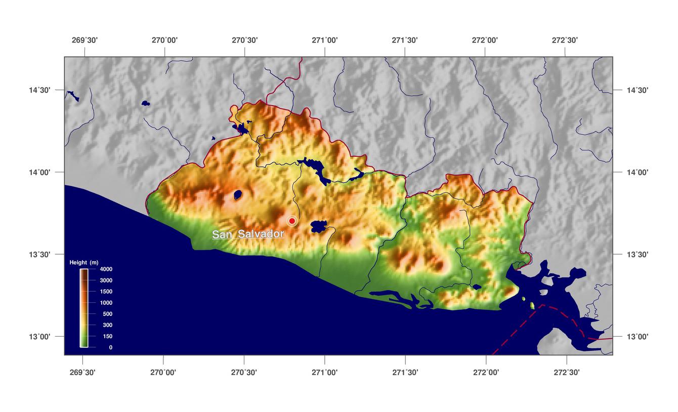 Large Physical Map Of El Salvador El Salvador North America - North america map el salvador