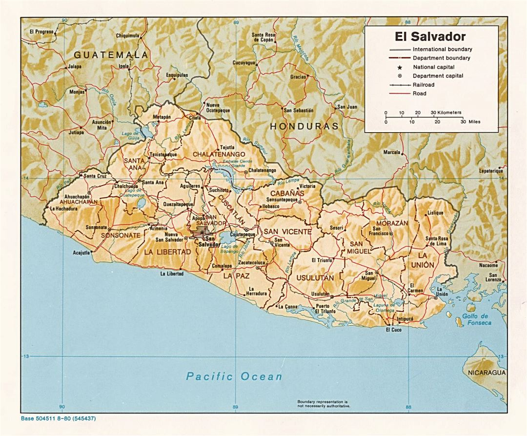 Large political and administrative map of El Salvador with relief, roads, railroads and major cities - 1980