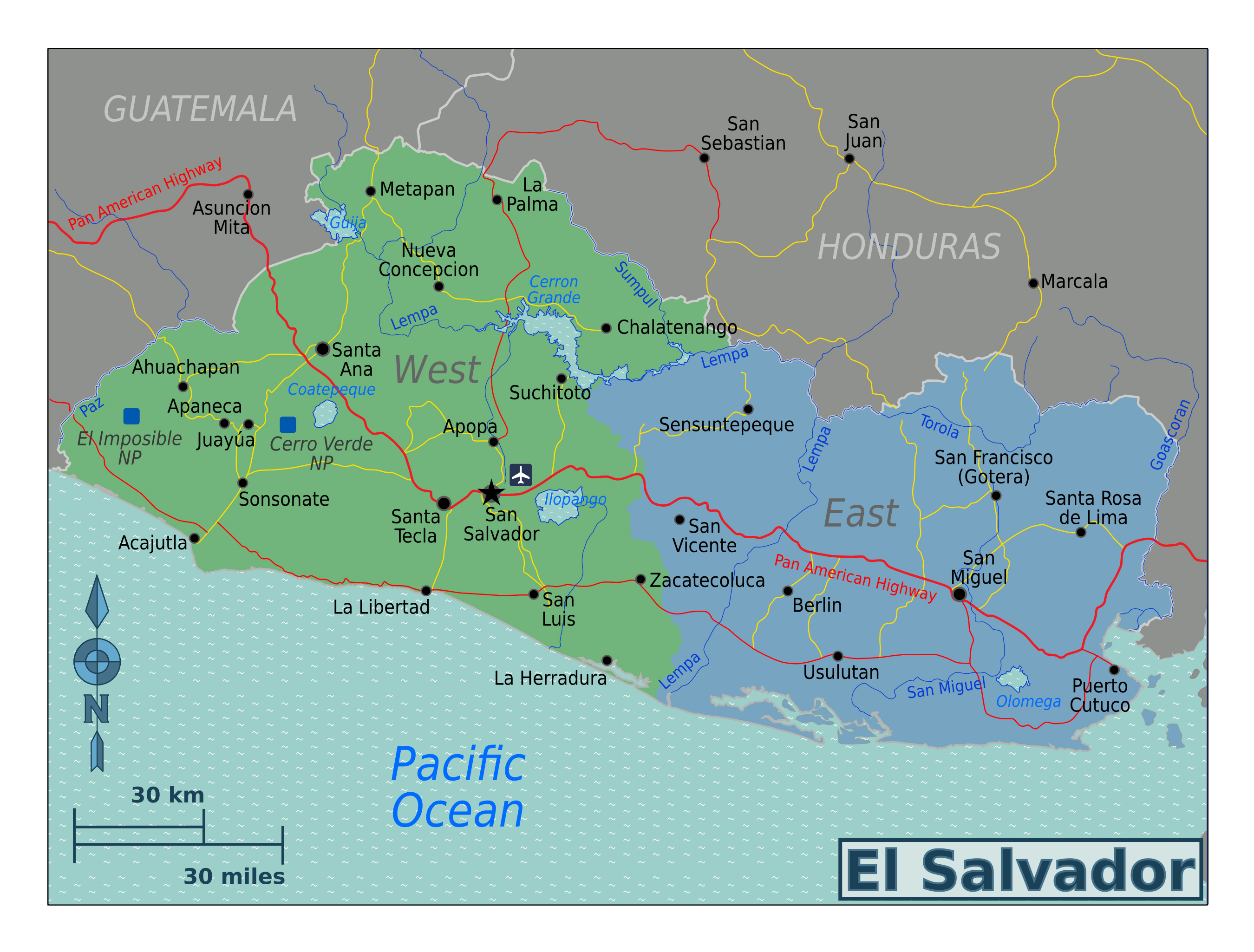 Large regions map of El Salvador | El Salvador | North ... on ahuachapan map, costa rica map, tenochtitlan on map, caribbean map, bahamas map, guatemala map, uruguay map, colombia map, kingston map, chalatenango map, managua map, panama map, tegucigalpa map, havana map, caracas map, honduras map, central america map, santo domingo map, lima map, nassau map,