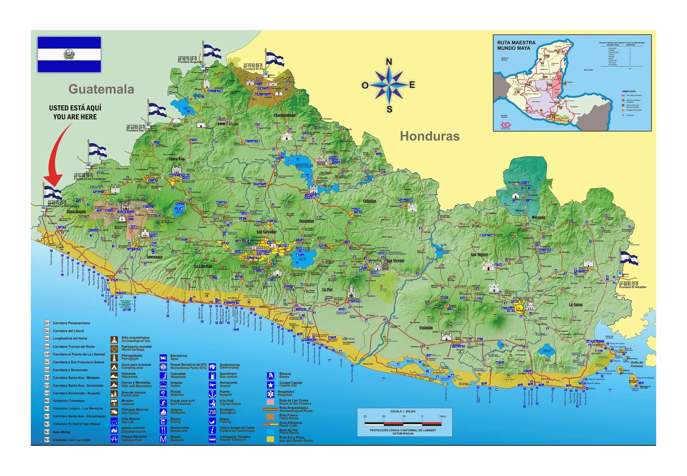 Large Tourist Map Of El Salvador El Salvador North America - North america map el salvador