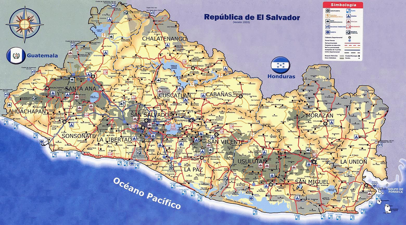 Large Travel Map Of El Salvador El Salvador North America - North america map el salvador