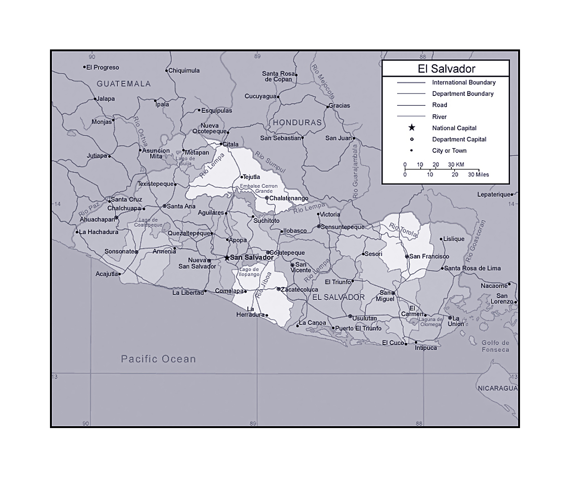 Political And Administrative Map Of El Salvador With Other Marks