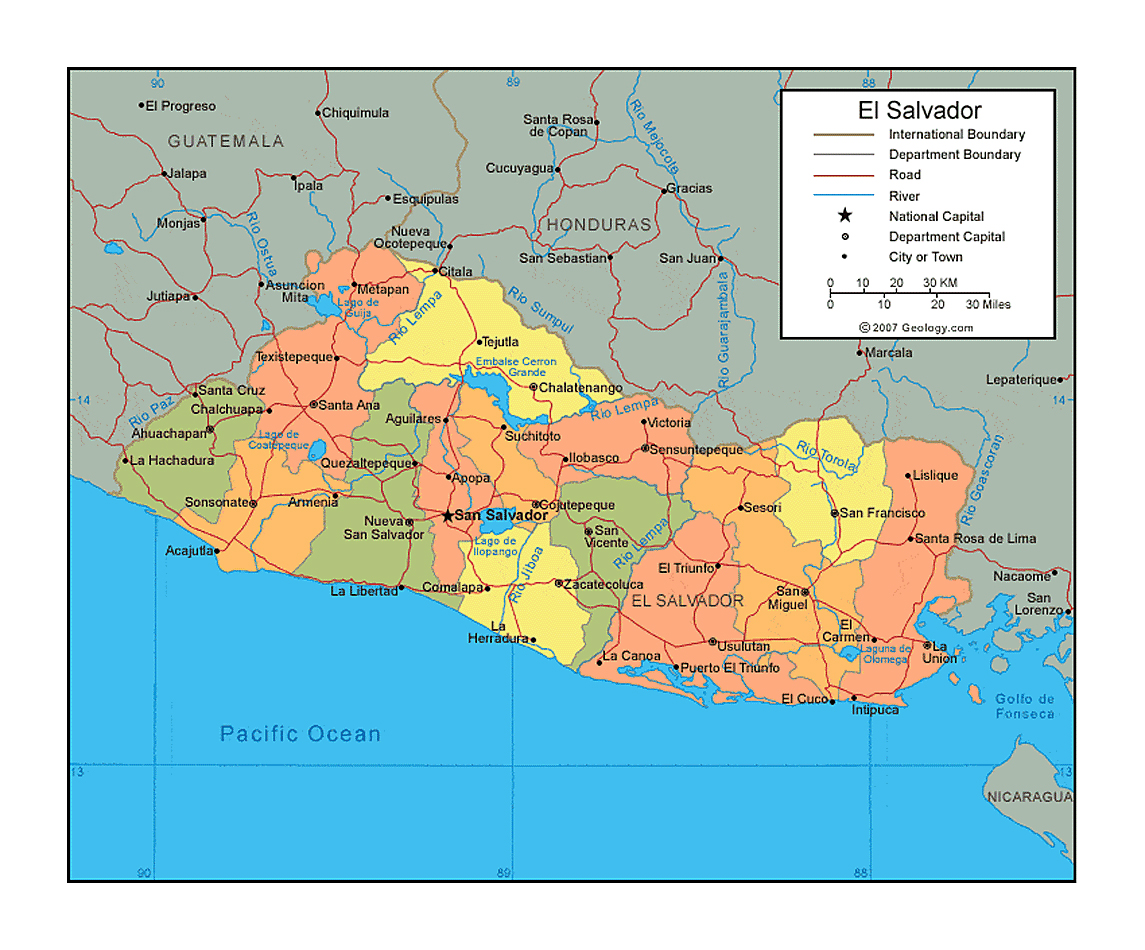 Political and administrative map of El Salvador with roads rivers
