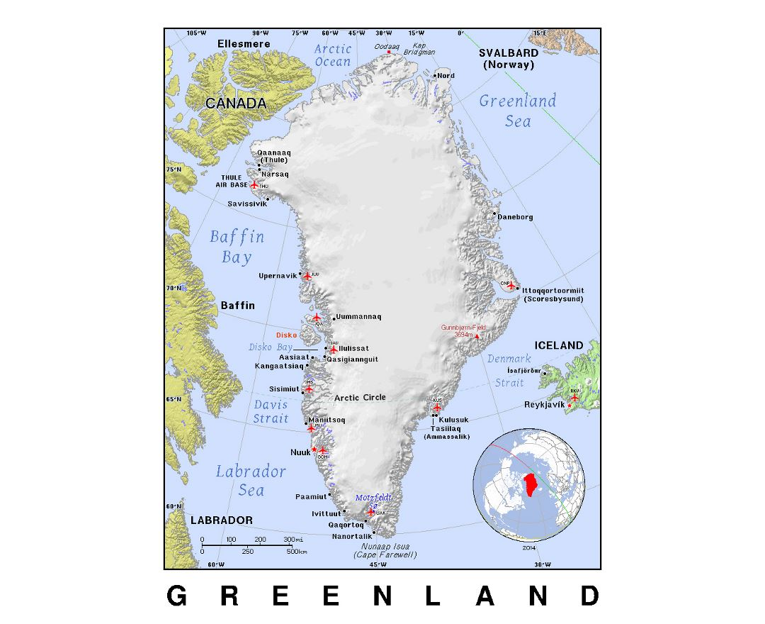 Detailed political map of Greenland with relief