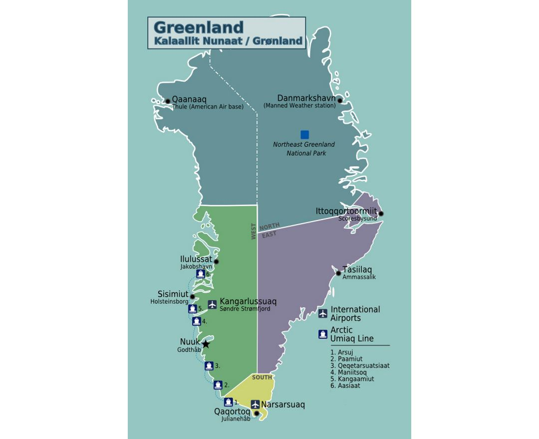 Detailed regions map of Greenland