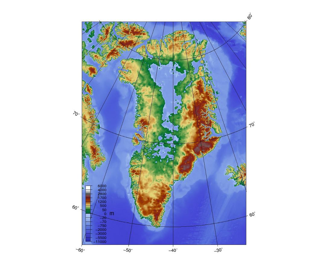 Detailed topographic map of Greenland