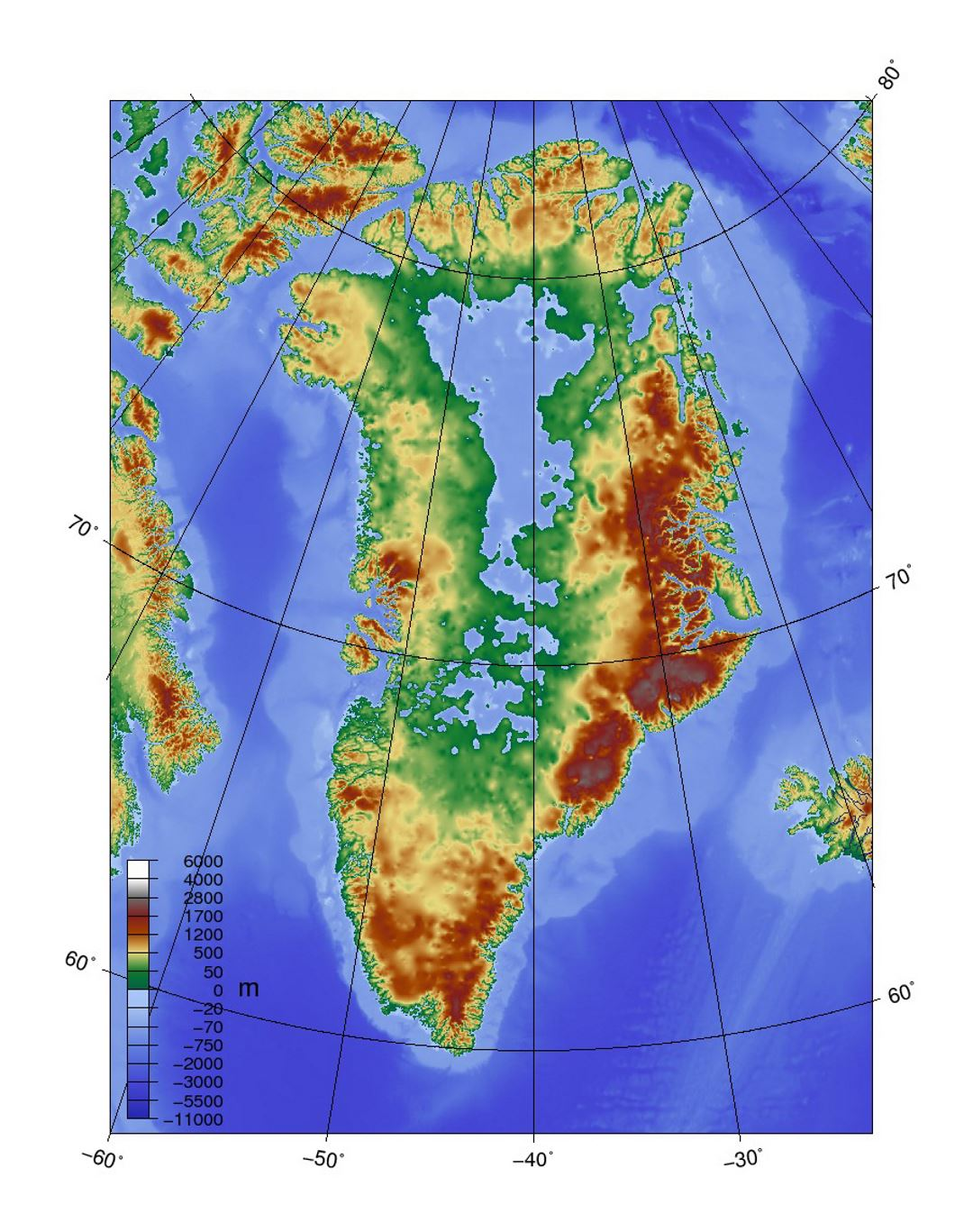 Detailed Topographic Map Of Greenland Greenland North America - North america topographic map